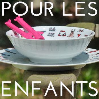 pour les enfants, une sélection d'objets par assiettes et compagnie
