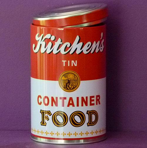 boite à tout faire pour ranger vos ingrédients de cuisine, en métal , la boite reprend la boite campbell dessinée par Andy Wahrol