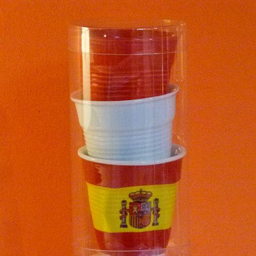 tube de trois tasses froissées Revol , une blanche, une rouge et un drapeau Espagne
