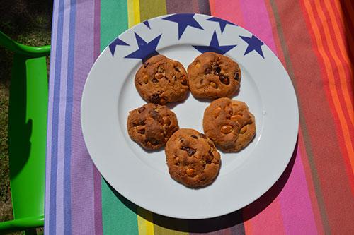 les cookies à la pate de noisettes et pépites de chocolat sur assiettes et gourmandises, une recette succulente