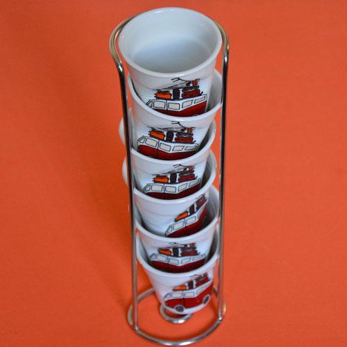 porte tasses froissées pour ranger ou présenter sa collection de tasses Revol, peut contenir jusqu'à 6 tasses identiques ou différentes, tasse à café espresso