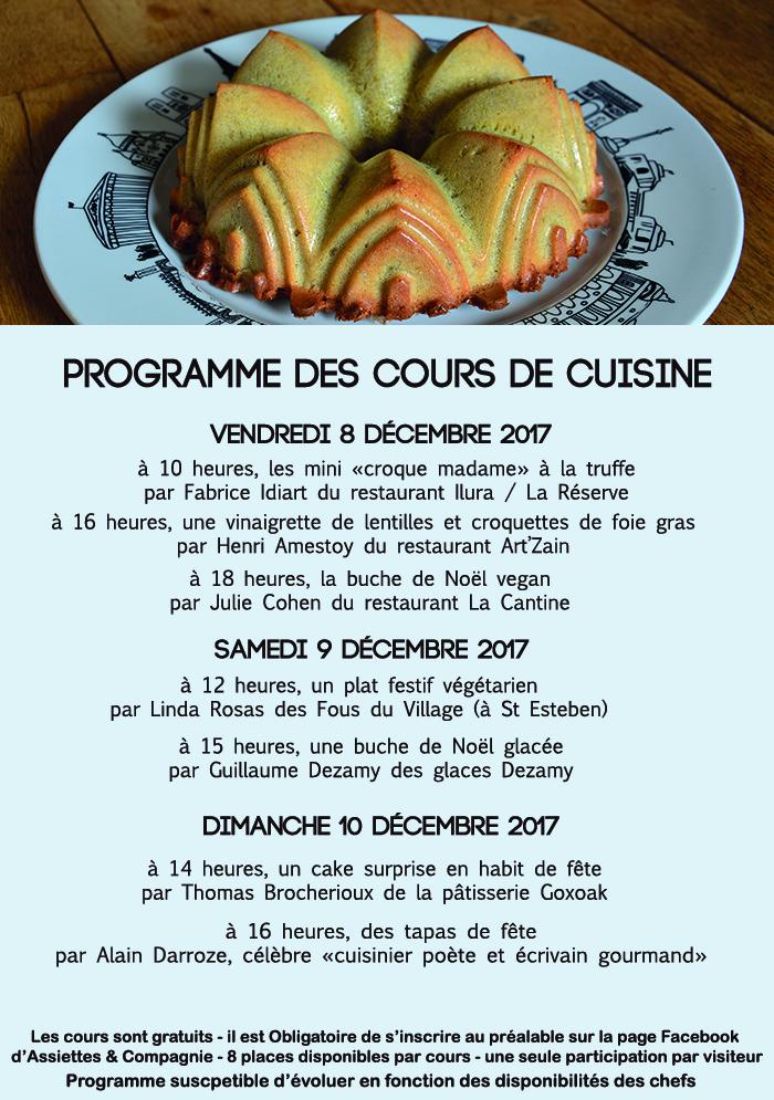 les cours de cuisine à l'atelier d'assiettes et compagnie sont gratuits et toujours dans la bonne humeur - découvrez le programme de fêtes de la prochaine série de cours