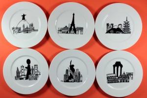 Coffret de 6 assiettes Mini Monde par Assiettes et Compagnie : Rome, Paris, Tokyo, Londres, New York et Rio de Janeiro