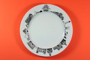 Assiette Dessert Biarritz, collection Carnet de voyage par Assiettes et Compagnie