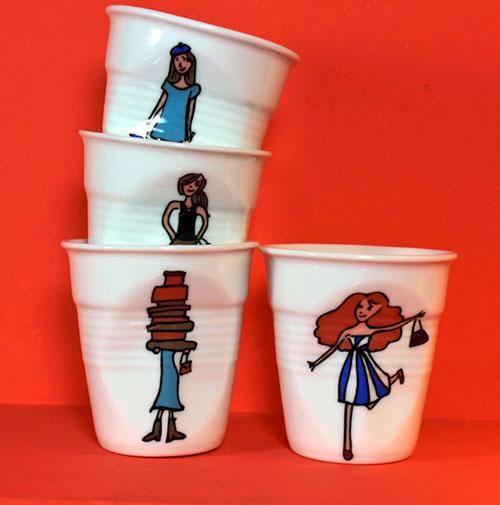 coffret de 4 tasses les shoppeuses de la collection I Love Shopping pour revol porcelaine et assiettes et compagnie
