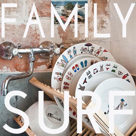 la collection Family Surf rassemble toute une gamme de porcelaines , assiettes, plats et tasses sur les thèmes du surf et des enfants à la plage, un vrai air de vacances au soleil, thème cher à la créatrice béatrice pene, créations exclusive pour assiettes et compagnie, éditées par la maison Revol, made in france