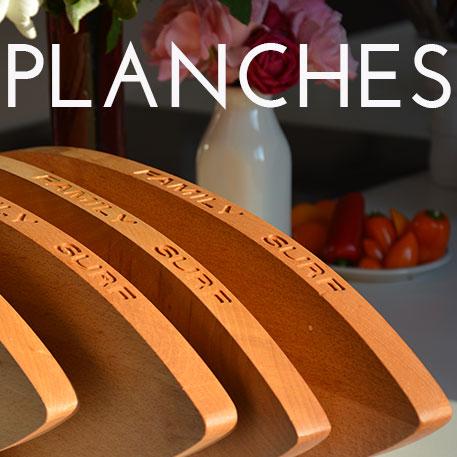 les planches d'assiettes et compagnie sont dessinées par béatrice Pene et éditées en série limitée par un ébéniste d'art de Bayonne - du made in France et de l'humour