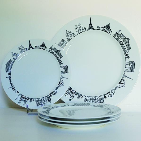 assiettes à dessert Paris pour faire le tour de la ville en un coup de fourchette à gateaux, creation graphique Béatrice Pene pour assiettes et compagnie, fabrication française par revol