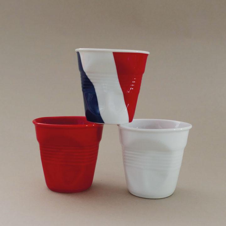coffret de 3 tasses avec la france, une rouge et une blanche, tasses revol collection flags dessinée par béatrice pene