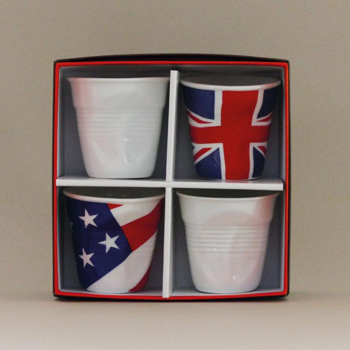coffret de 4 tasses Flag, tasses revol collection flags dessinée par béatrice pene