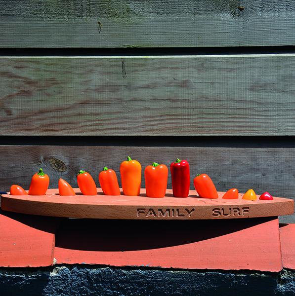 une planche de surf comme planche à decouper , faite par un véritable ébéniste en série limitée pour assiettes et compagnie, voici une pièce idéale pour votre cuisine - planche à découper en hêtre massif