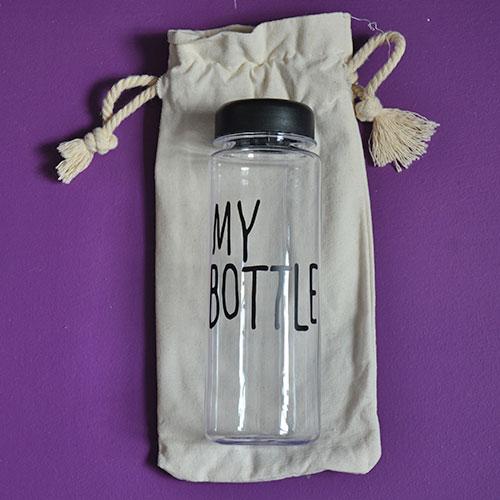 "gourde bouteille réutilisable ""my bottle"" avec son sac ""don't touch this is my bottle"""