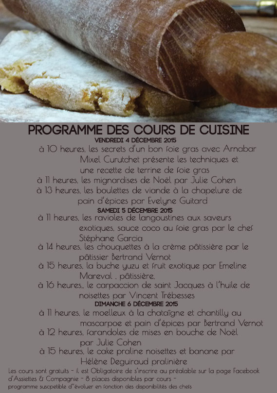 assiettes et compagnie programme des cours de cuisine gratuits pendant les ventes privées épicerie éphémère à l'atelier de biarritz