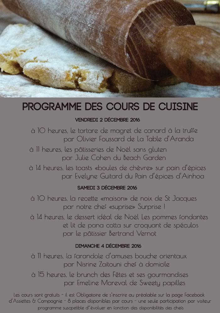 programme des cours de cuisine à l'atelier d'assiettes et compagnie à biarritz