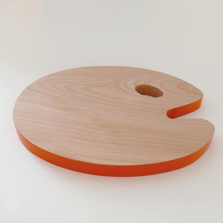 planche la palette du peintre - création orginale assiettes et compagnie - tranche laquée orange